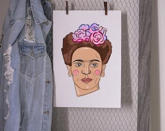 Frida Kahlo Art, feminist Art print, Frida Kahlo poster, minimalist Portrait Art, gift for feminist, feminism poster