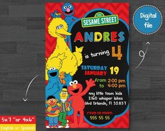 Sesame Street Invitation, Elmo Invitation,Sesame Street Birthday, Sesame Street Party,Sesame Street Birthday Invitation,Elmo Invitation,boy
