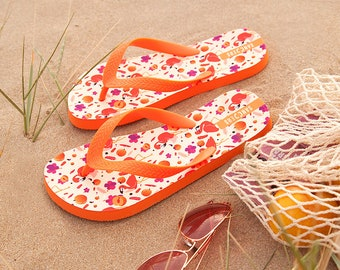 Orange Flip Flops with Peach and Flamingos illustration - Beach sandals - Slippers - Flamingo print - Kids and Adults flip flops