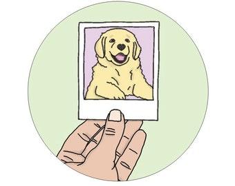 Polaroid Pup Labrador Golden Retriever Puppy Dog Sticker
