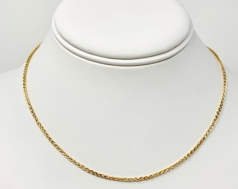 53c634052 18k Solid Yellow Gold Thin 1.5mm Wheat Link Chain Necklace Italy 16 Inches