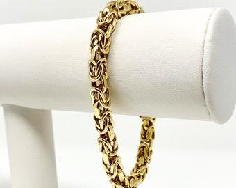 c8e20fa4783 18k Yellow Gold Designer 5.5mm Byzantine Link UnoAErre Bracelet Italy 7.5