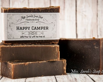 Happy Camper, handmade soap with Pine Tar and Tea Tree Oil