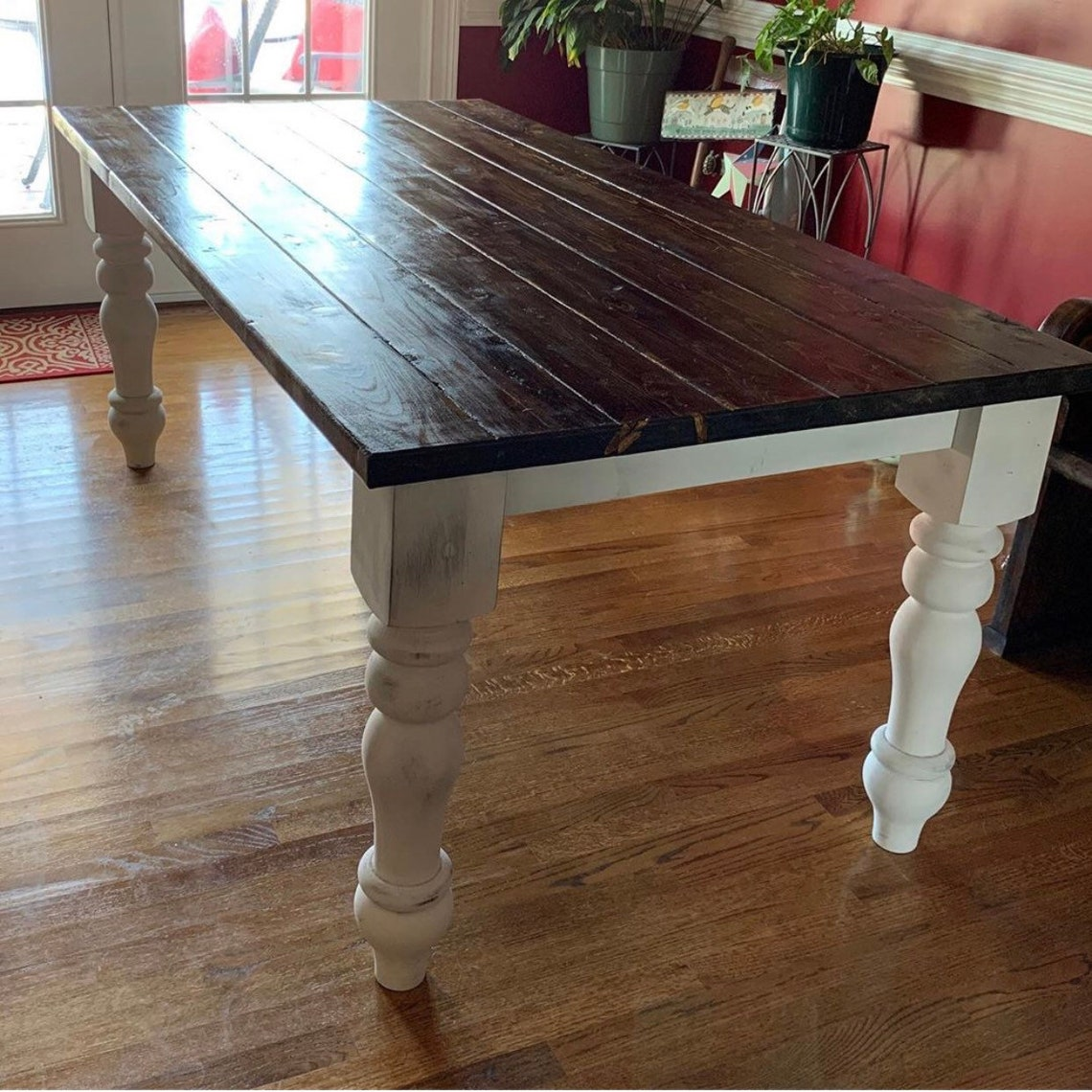 "Hardwood Curvy Chunky Farmhouse Dining Table Legs - 5"" x 5"" x 29"" - Set of 4 - Unfinished Wood Legs - Made in NC"