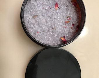 Organic Lavender Sea Salt Infused With Dried Rose Petals 8oz