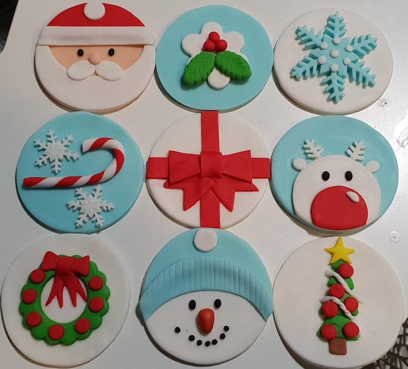 Christmas Cupcake Toppers.Fondant Christmas Cupcake Toppers