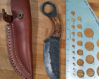 Custom Forged Fixed Blade Knife with leather sheath