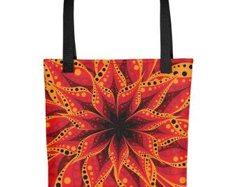 Tote bag- Multilayered Red Flower