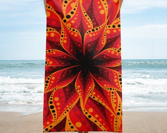 Beach Towel - Multilayered Red Flower
