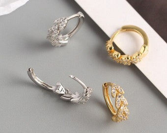 Colored Diamond Leaf Dangling Nose Ring