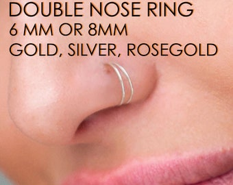 Double Nose Ring, 6/8MM , Single Piercing, Fake Double Nose Ring, Earring Cuff, 925 silver 18K Gold, Rosegold, or Platinum Plating, crystal