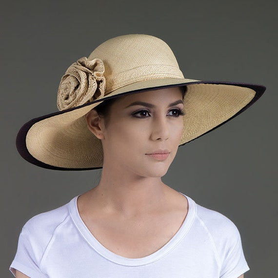 4dde2c64d Genuine Panama Hat| +1Free Hat(Avocado Style)| Wide Brim| Toquilla Palm|  Classic Woman Style| Natural Color| Flower & Ribbon in Toquilla