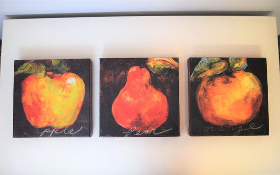 Set Of 3 Fruit Paintings On Canvas Apple Pear Orange