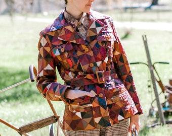 Vintage patchwork leather jacket