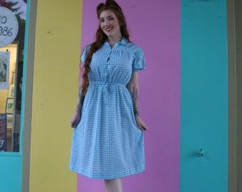 Light Blue & White Cotton Gingham Shirt Dress, 1950's
