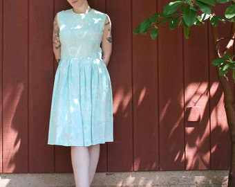 Light Blue Floral Poly 1950's Fit & Flare Sleeveless Dress