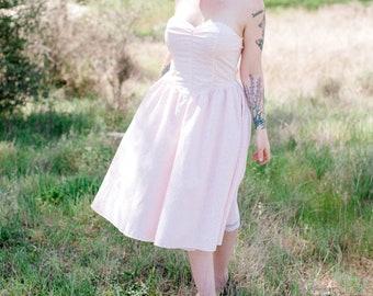 Pale Pink Floral Cotton Strapless 1980's-1990's Dress