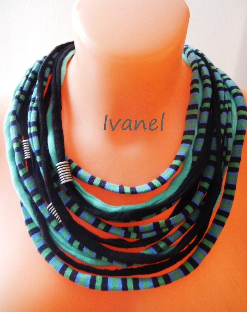 Fabric necklace Multi strand necklace Striped necklace Bib necklace,T shirt necklace,Cotton necklace,,Bib necklace green necklace,