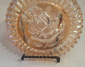 Carnival Glass Open Rose Powder Dish Lid