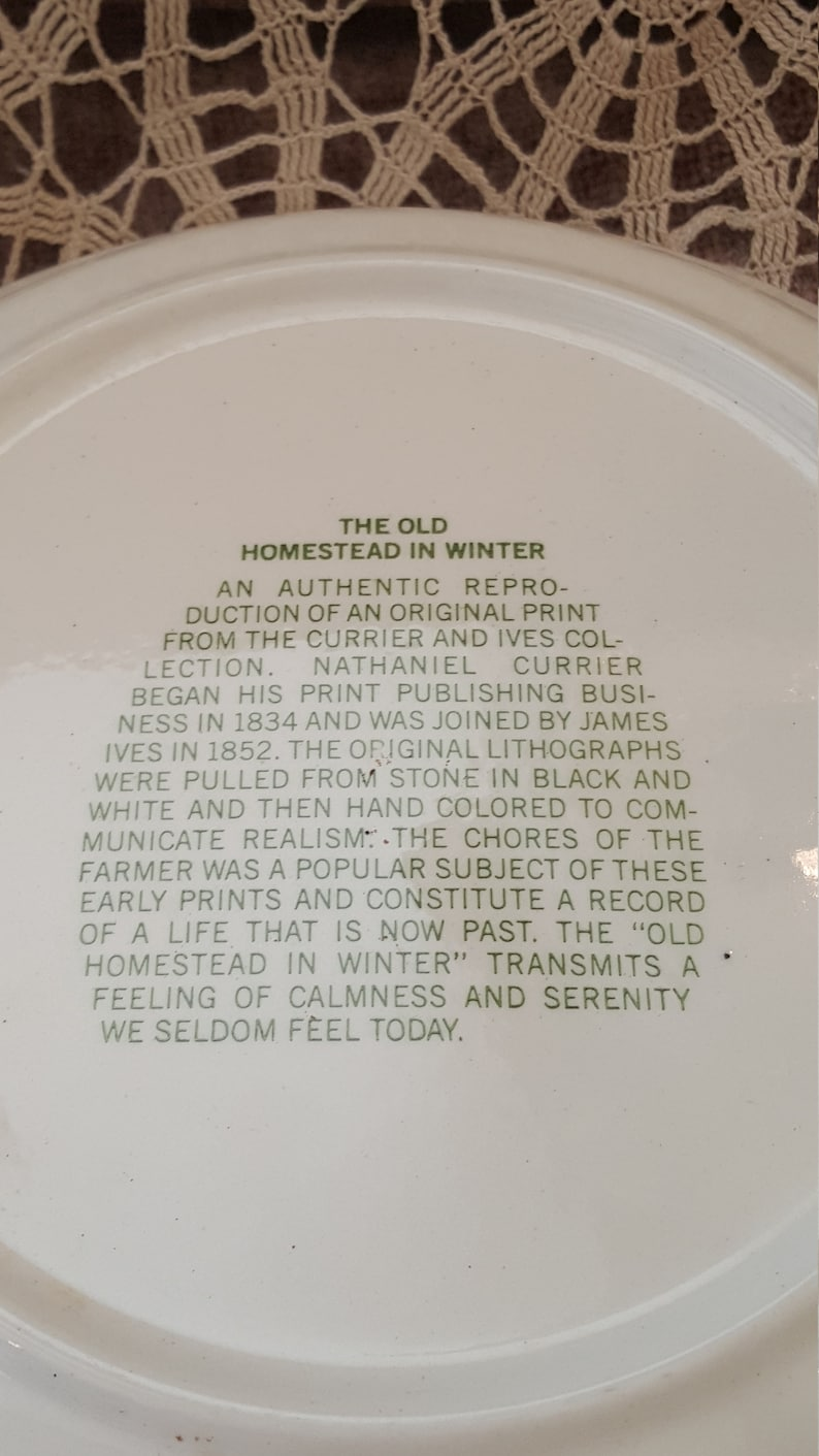 Currier and Ives Old Homestead Pie Plate