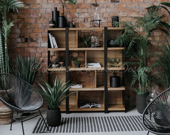 Industrial Book Shelf Oak Wood Bookshelf Rustic Metal Bookcase Furniture Wall Living Room Storage