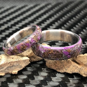 Raw Stone Wedding Band Titanium Wedding Band for Men Women Wedding Ring His and Hers Wedding band Unique Titanium Ring Tourmaline Amethyst