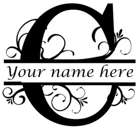 letter c floral initial monogram family name vinyl decal