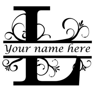 Monogram Decal Letter F Floral Initial Monogram Family Name Vinyl Decal Sticker Monogram Personalized Floral Name Decal Wall Art