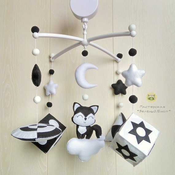 baby mobile kinderbett mobile filz mobil schwarz wei baby etsy. Black Bedroom Furniture Sets. Home Design Ideas