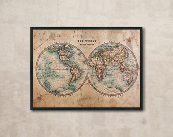 Antique world map etsy brilliant antique world map poster and cool ideas of vintage posters stylish wall decor canvas printing magnets gumiabroncs Images