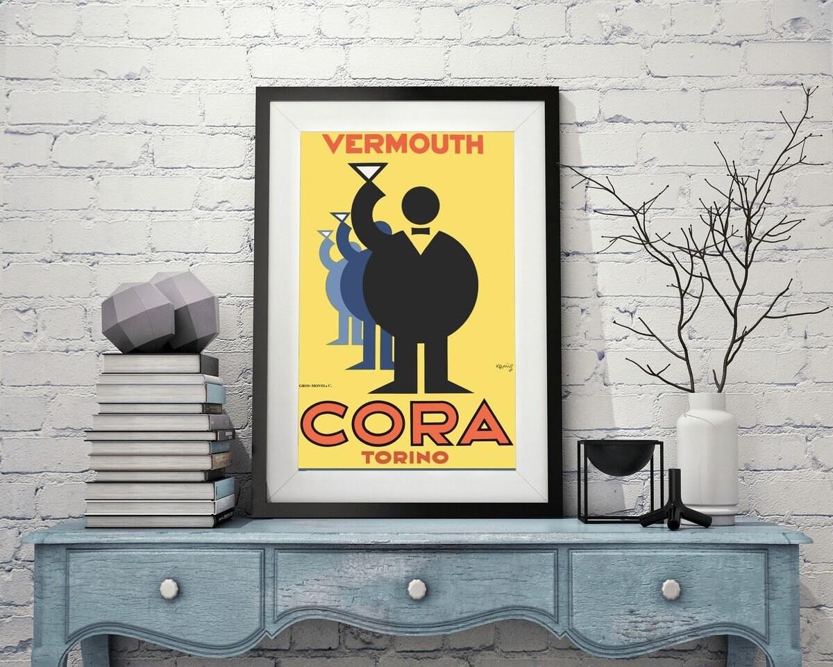 Cora vermouth torina vintage poster canvas printing wall decor   Etsy