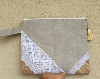 Lace clutch, burlap clutch, boho clutch, bridesmaid gift, summer clutch, handbag, casual clutch, bohemian clutch, party clutch, evening bag
