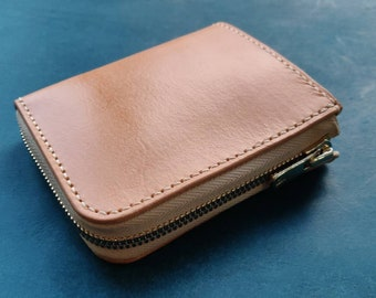 Small Zipper Wallet, Veg Tanned Zippered Wallet With Coin Purse, Buttero Leather Compact Wallet