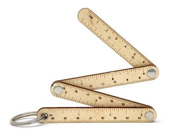 Zigzag Ruler Wood ruler keychain, custom engraved portable ruler, fob keychain ruler