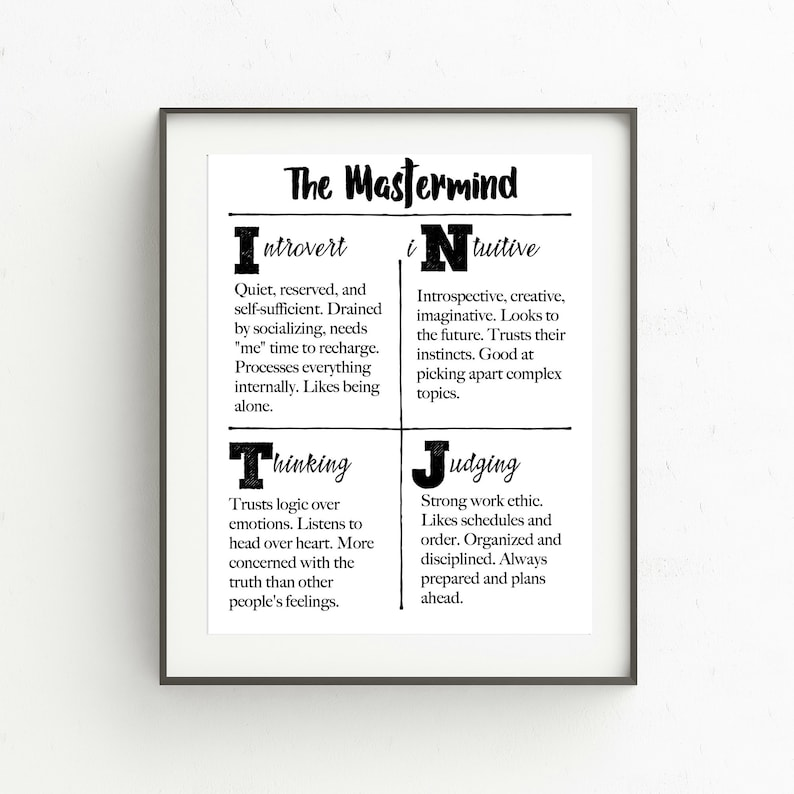 picture regarding Printable Myers Briggs Personality Test called Myers-Briggs Persona Properties Printable, INTJ, The Mastermind