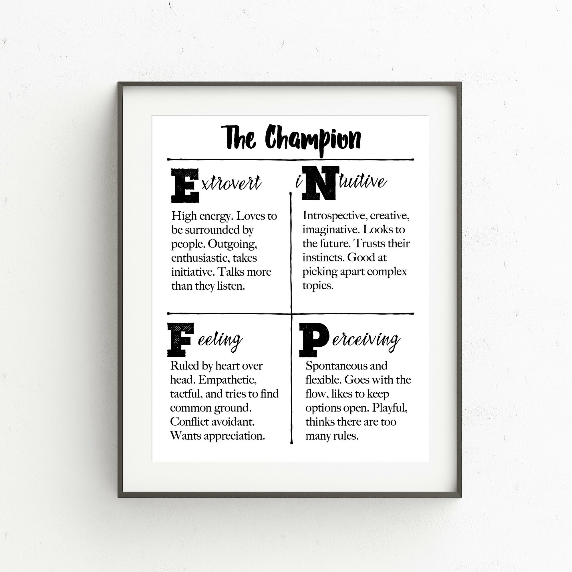 graphic regarding Printable Myers Briggs Personality Test called Myers-Briggs Temperament Qualities Printable ENFP, The Winner