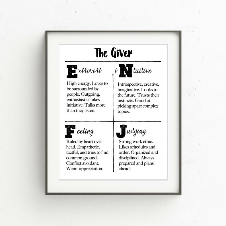 graphic regarding Myers Briggs Printable Test named Myers-Briggs Temperament Features Printable, ENFJ, The Giver