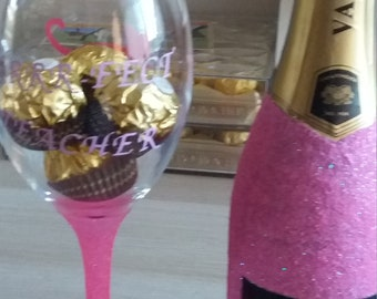 Hand glittered prosseco and wine glass