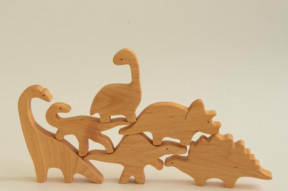 Natural Hardwood Dinosaur Toy Set