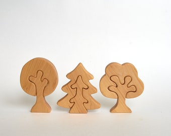 Wooden set of trees, Wooden toys, Organic toys