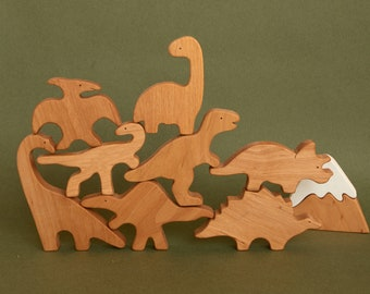 Wooden Dinosaur Set, Wooden toys, Organic Toys for Baby