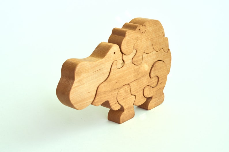 Hippo Educational toys Animal Puzzle Wooden toys Wood Toy Natural toys Baby Gift Wooden puzzle Zoo Animal Kids Wooden Hippo