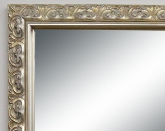 Silver Framed Wall Mirror - Simple silver ornate framed mirror - wall mirror - bathroom vanity mirror - vanity mirrors - silver wood frame