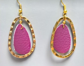 Faux leather fuchsia and Gold Oval earrings