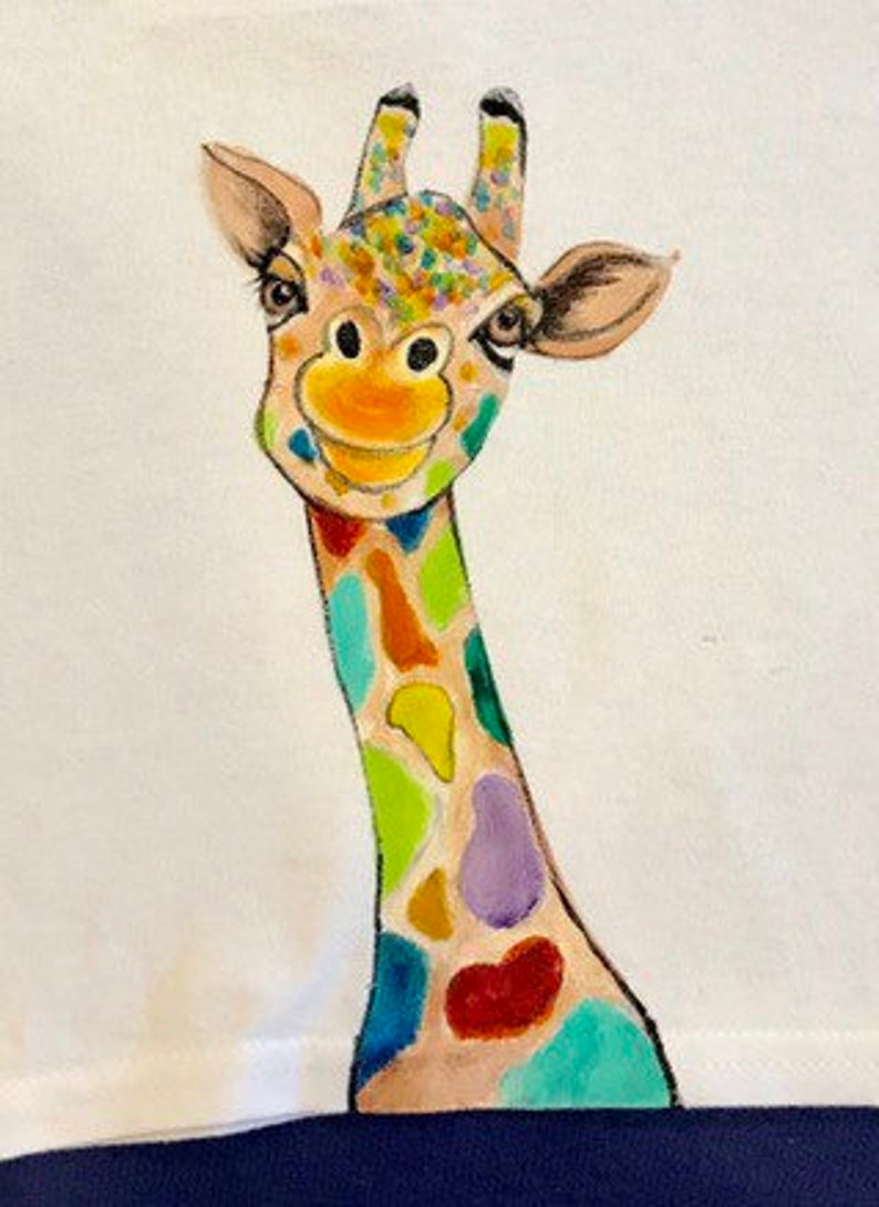 Hand-painted. Colorful giraffe T-shirt