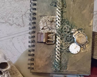 "Steampunk Notebook A5 Blank pages. One of a kind ""Bryophyta"""