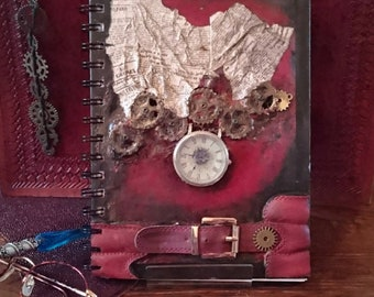 "Steampunk Notebook A5 Blank pages. One of a kind ""Steampunk Rouge"""