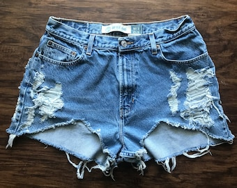Hi Thigh Cut Off Distressed Short High Waist