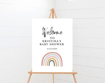 Editable Rainbow Baby Shower Welcome Signs, Includes 4 Sizes (8x10, 12x18, 16x20, 18x24), Baby Shower Signs, Instant Download