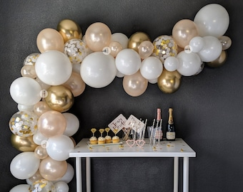 Champagne Celebration! Balloon Garland DIY Kit (5' to 25'), Includes EVERYTHING that you will need for assembly